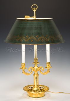 Bouillotte Lamp, Federal / French Empire Tole Bouillotte Table Lamp