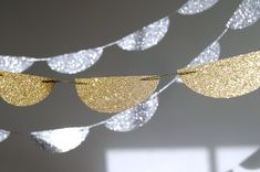 Glitter Paper Garland Gold or Silver  Bridal by TheLittleThingsEV, $8.00