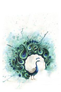beautiful peacock painting, love the circular shape