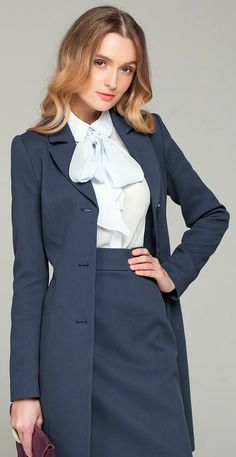 https://flic.kr/p/DQ2C7S | Dressed In Proper Work Outfit - Bow Blouse Pencil Skirt And Coat