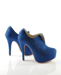 Suede Platform Heeled Shoes with V Cut Out Front