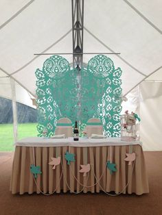 Presidium table background. Mint, Pink, Birds, Cage.  www.coollook.su  CoollooK Agency