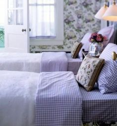 Purple & white gingham in the bedroom