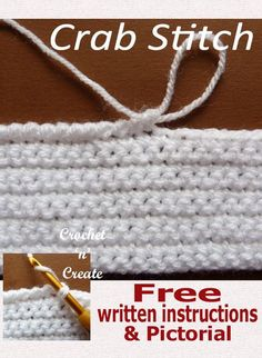 Crochet Stitches Patterns Learn how to crochet the crab stitch from step by step free pictorial on crochet 'n' create. Crochet Motifs, Crochet Stitches Patterns, Tunisian Crochet, Learn To Crochet, Knitting Stitches, Crochet Designs, Easy Crochet, Crochet Baby, Stitch Patterns