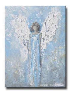 GICLEE PRINT Abstract Angel Painting Art Light Blue White Guardian Angel Palette Knife Fine Art Spiritual Wall Art - Christine Krainock Art - Contemporary Art by Christine - 1