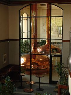 Copper kettles at the Sierra Nevada Brewing Company in Chico, CA - Founded in 1980, Sierra Nevada Brewing Co. is among America's first craft breweries.