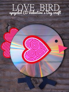 Recycled CD Valentine's Day Love Bird Craft