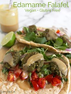 Change up your regular falafel routine by making these delicious, fun and easy edamame falafel. Served with creamy tahini sauce and some veggies, this is a nutritious, balanced and healthy gluten free vegan dinner recipe. #Vegan #VeganRecipe #VeganDinner #VeganMeal #VeganMealPrep #Falafel #Vegetarian #VegetarianRecipe #PlantBased #PlantBasedRecipe #VeganProtein #Meatless #DairyFree #GlutenFree #GlutenFreeVegan #VeganGlutenFree #Edamame #Cilantro #Lime #Tahini Vegan Seitan Recipe, Seitan Recipes, Tahini Recipe, Falafel Recipe, Tahini Sauce, Vegan Chickpea Recipes, High Protein Vegan Recipes, Vegan Dinner Recipes, Edamame