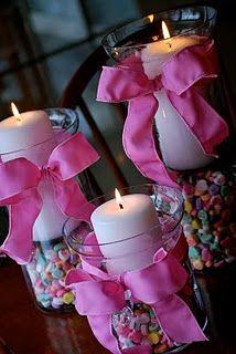 Simple Valentine's centerpieces