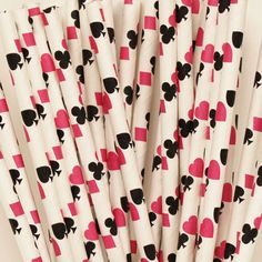 PInk CASINO CARDS Paper STRAWS, 25 Playing Cards Paper Straws with Diy Flag, Bunco Parties, Polka Night, Bridge Club, Girls Night Out