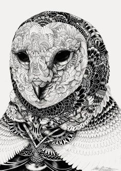 Black & White Animal Illustrations from Iain Macarthur -   Patterns represent the image of the owl. It has been carefully illustrated to flow through with each line. The closer the lines get it creates a more defined shading which adds much depth to the overal picture.
