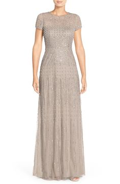 Free shipping and returns on Adrianna Papell Embellished Mesh Gown (Regular & Petite) at Nordstrom.com. Rows and rows of faux pearls, sequins and beads stream across this enchanting fit-and-flare gown made of wispy mesh.