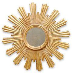 """Avino Hollywood Regency Gold Sunburst Antique Wall Mirror 28"""" $848."""