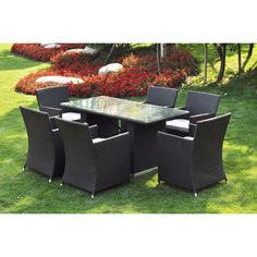 @Overstock - 'Ena' 7-piece Outdoor Dining Table Set - This 7-piece patio dining set is constructed of weather-resistant rattan and aluminum for years of use. This set includes a glass-top table and six chairs with grey upholstery.  http://www.overstock.com/Home-Garden/Ena-7-piece-Outdoor-Dining-Table-Set/7951324/product.html?CID=214117 $974.99