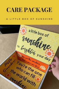 Box of Sunshine Care PackageThanks cslabinger for this post.Includes a free printable. This post shares how I made my box of sunshine box, where I got my box, info on my mailing labels, and great care package items. This sunshine care packa# box Sunshine Care Package, Birthday Care Packages, Cadeau Couple, Bff Birthday Gift, Friend Birthday, Box Of Sunshine, College Gifts, College Gift Boxes, College Dorms