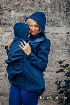 Babywearing Coat - Softshell - Navy Blue with Little Herringbone Illusion - size L Babywearing, Softshell, Herringbone, Illusions, Raincoat, Navy Blue, Jackets, Fashion, Rain Jacket