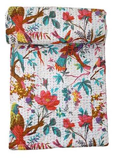 Bird-Print-King-Size-Kantha-Quilt-White-Kantha-Blanket-Bed-Cover-King-Kantha-bedspread-Bohemian-Bedding-Kantha-Size-90-Inch-x-108-Inch-0