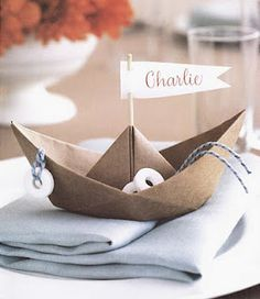 So sweet ~ nautical theme: fold napkin like a boat
