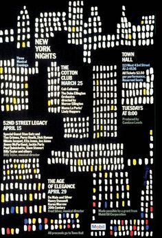 Via grafik Ivan Chermayeff, Mobil New York Nights poster, Ivan Chermayeff, Art Nouveau, New York Night, Album Book, New Poster, Cool Posters, Modern Graphic Design, Midcentury Modern, Illustration