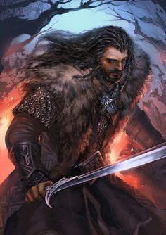 Amazing art The Hobbit Painting Featuring Richard Armitages Battle Ready Thorin Oakenshield Legolas, Thranduil, Gandalf, Thorin Oakenshield, Bilbo Baggins, Art Hobbit, Kili Hobbit, Fili Et Kili, Bagginshield