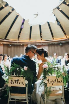 """""""Better together"""" bride and groom chair signs with flowers and foliage // Edric and Xuezhen's DIY-Filled Informal Ballroom Wedding"""