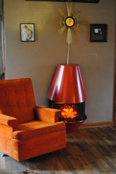 Mid Century Electric Fireplace Orange Retro 1970s Vintage Dyna ...