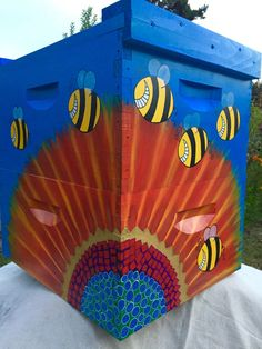 Crazy Beez and Sunflower Painted Beehive Box by IzzabellaBeez