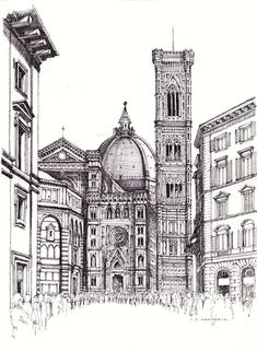 FLORENCE Duomo Ian Stuart Campbell Ink sketch,using light fast water resistent Staedtler pigment, on Daler Rowney, 220gsm,acid free paper.