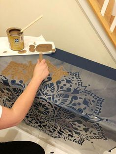 DIY stenciled old furniture makeover using Cutting Edge Stencils Mandala Stencil patterns - April 27 2019 at Walnut Bedroom Furniture, Diy Kids Furniture, Old Furniture, Recycled Furniture, Rustic Furniture, Furniture Makeover, Cheap Furniture, Luxury Furniture, Street Furniture