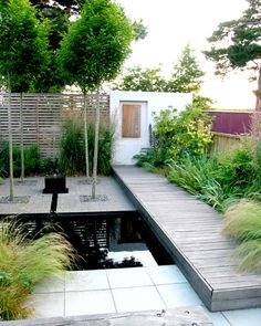 Contemporary garden design incorporating pond with more than a hint of Japanese Zen stying.