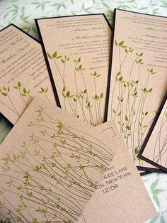 I like the idea of recycled invitations. This particular one (in addition to being pretty) mentions the response card doesn't require an envelope which would be a nice way to not use unnecessary paper. Unique Wedding Invitations, Rustic Invitations, Invitation Ideas, Plan My Wedding, Wedding Ideas, Green Wedding, Wedding Stuff, Recycled Wedding, Wedding Prints