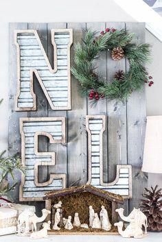 Woodland Christmas Home Tour 2015 Part 1 | blesserhouse.com | industrial farmhouse noel sign