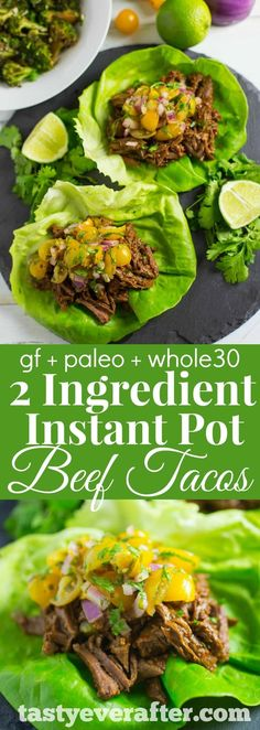 """6 minutes to skinny - The EASIEST taco recipe EVER! Just 2 ingredients and less than 30 minutes to make the best taco meat around. - Watch this Unusual Presentation for the Amazing to Skinny"""" Secret of a California Working Mom Lunch Recipes, Paleo Recipes, Mexican Food Recipes, Dinner Recipes, Ethnic Recipes, Paleo Dinner, Dinner Ideas, Carnitas, Instant Pot Pressure Cooker"""