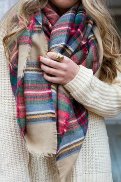 Plaid scarf, white sweater