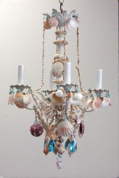 Diy shell chandeliers pinterest shell chandelier coastal and shabby sea shell chandelier by i lite 4 u aloadofball Images