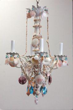 shabby sea shell chandelier by I Lite 4 U
