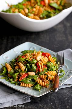Arugula Salad with Roasted Tomatoes & Pasta Recipe {Vegan} | cookincanuck.com #vegetarian #vegan #meatlessmonday