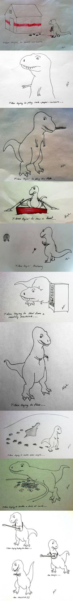 T-Rex trying to do many things