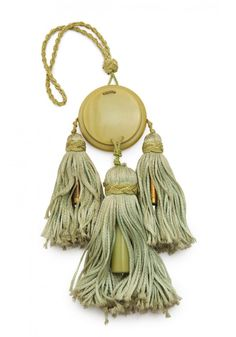 1920s Perrette Paris dance purse, celluloid compact with mirror, silk side tassels hold metal lipsticks, center tassel with celluloid holder for glass perfume bottle.