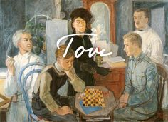 Tove Jansson : Family, 1942 - Private collection // Tove Jansson's family, with brothers playing chess in the foreground. Moomin Books, Tove Jansson, Fine Art Drawing, Art Moderne, Art Studies, New Artists, Historical Photos, Art History, Helsinki