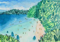Impression d'art de peinture aquarelle originale - «Paradis»