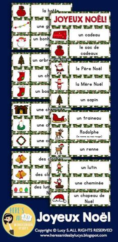 French Christmas - Noël by Here's an idea by Lucy S French Christmas, Christmas Words, Learn To Speak French, French Worksheets, Wall Writing, Core French, French Education, French Classroom, French Resources