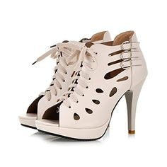 New Summer Sandals Womens Caged Design Lace Up Peep Toe Hollow Out Gladiator Bootie >>> Want to know more, click on the image.(This is an Amazon affiliate link and I receive a commission for the sales)
