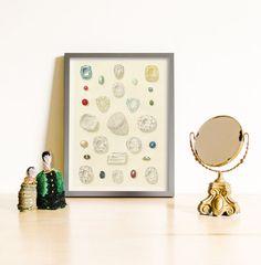 Diamond print, art with cut gems, Mineral Art, Crystal Print, Crystal Art, Precious Stone, Gemstones Print, Gem Print, Minerals Art Print