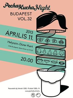 Pecha Kucha Night, poster, vintage, retro, hair, graphic  design