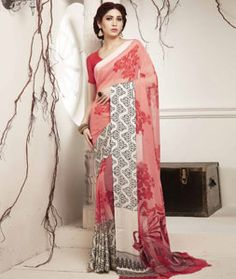 Buy Peach Georgette Printed Saree With Blouse 75142 with blouse online at lowest…