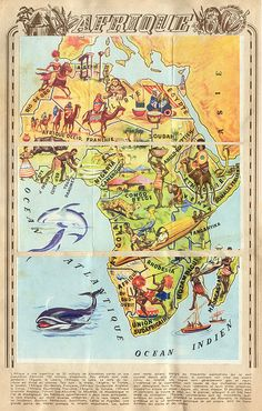 Africa Map - notice how this is done from a naive Eurocentric point of view. It ignores history and doesn't show how people's lives were co-opted for corporate benefit. Old Maps, Antique Maps, Vintage Travel Posters, Vintage World Maps, Safari Photo, Afrique Art, Map Design, Travel Maps, African Safari