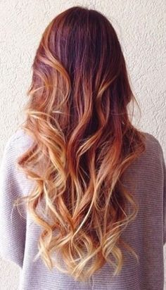 Ombre balayage red blond hair