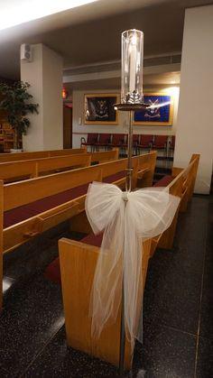 #vtwmc | Diamond Tulle Bows | Nickel Aisle Candle | War Memorial Chapel