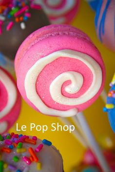 Bubble Gum Macaron Lollipops original design by Le Pop Shop featuring Bubble Gum by SweetWorks.net www.facebook.com/...